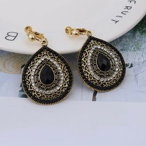 Black Bohemian Tear Shaped Clip On Earrings